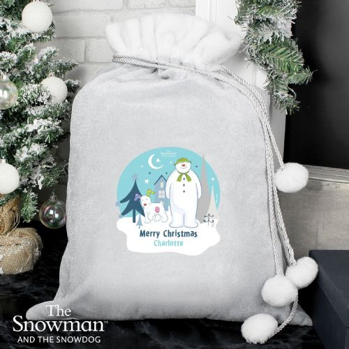 The Snowman and the Snowdog Luxury Silver Grey Pom Pom Sack